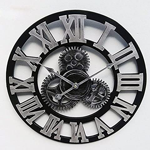 LUFA Horloge murale en engrenage 3D Retro Gear Grande horloge murale vintage Montre en bois Numéros romains