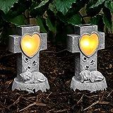 2er Set: solarbetriebene, geschmackvoll, gediegen und liebevoll gestaltete Gedenksteine: 1 Hunde-Gedenkstein & 1 Katzen-Gedenkstein, von Festive Lights