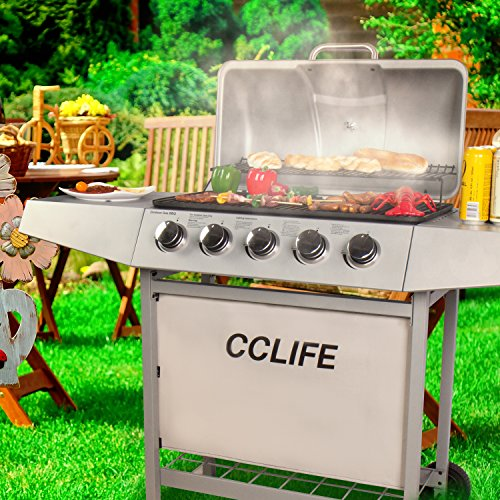 CCLIFE Carro Barbacoa de Gas Parrilla Barbacoa Gas con 3/4/5/6 quemadores BBQ, Color:Silver, Tamaño:5...