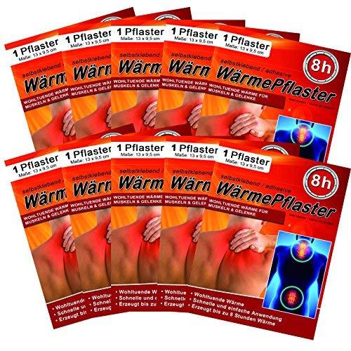 Wärmepflaster für Rücken Schulter Nacken Bauch - Wärmekissen Wärmespender Wärmepads Pflaster 8h, Wellnesprodukt für Massage & Entspannung, 10 Stück Wärmepflaster