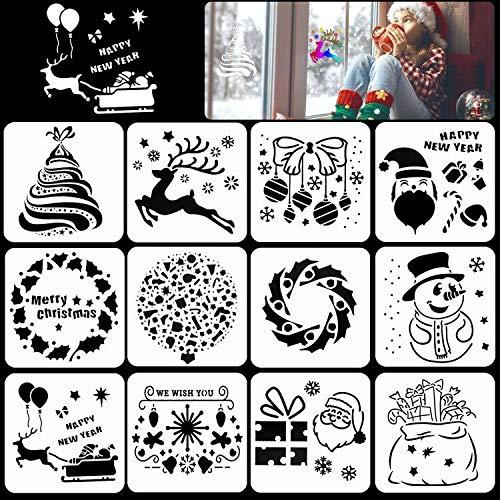 HOWAF Weihnachts schablonen Set, 12 Stück Weihnachts Neujahr Kunststoff Schablonen Stencil Malerei für Kinder Zeichnung Scrapbooking Fotoalbum Bullet Journal Geschenkkarten Weihnachtsdeko Zubehör