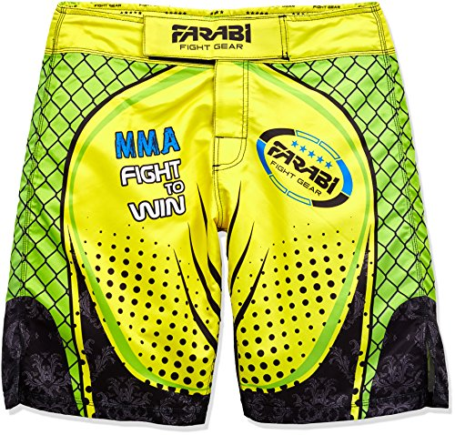 Farabi MMA Boxing Kickboxing Muay Thai Mix Martial Arts Fighting Training Gym wear Clothing Shorts Trunks (Yellow/Green, M) (Martial-arts-training-schuh)