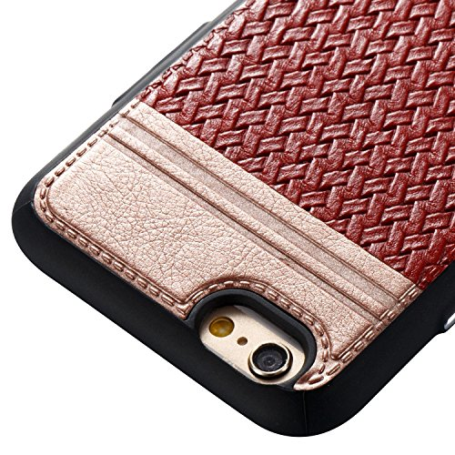Mischfarben Weaving Pattern PU Leder Skin Cover Shell Soft TPU / Silikon Rückseiten Cover Case für iPhone 6 & 6s ( Color : I ) B