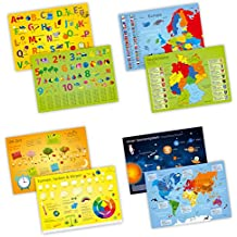 4er Set Tischset mit Lerneffekt - ABC, Deutschland, die Erde, Sonnensystem,... - Platzset für Kinder