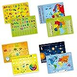 nikima - 4er Set Schreibtischunterlage mit Lerneffekt - Karton - ABC, Deutschland, die Erde, Farben. - Größe: A3 für Kinder