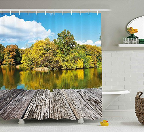 BUZRL Landscape Shower Curtain, New York City Central Park in a Autumn Day Near a Bay with River, Fabric Bathroom Decor Set with Hooks, 66x72 inches, Sky Blue Green and Cocoa