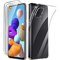 Oududianzi - Cover per Samsung Galaxy A21S + [3X Pellicola Protettiva in Vetro Temperato], Custodia Morbida Chiaro…