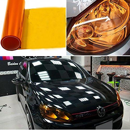 """BELEY 2 Rolle 12""""x48 Wasserdicht Auto Scheinwerfer Tönungsfolie Vinyl Folie Aufkleber für Rückleuchten Blinker Nebelscheinwerfer, 90% Transmission Schwarz (Orange)"""