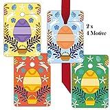 8folklore Porte-clés | Étiquettes | Tags papier cadeau pendentif | Cartes cadeau | Format 10x 6,9cm avec oeufs de Pâques et Lapins .8 Anhänger
