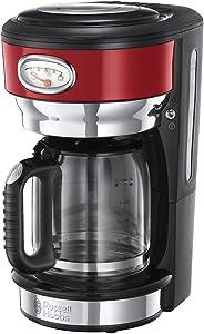 Russell Hobbs 21700-56 Retro Cam Karaflı Kahve Yapma Makinesi, 1,25lt/10 Fincan, Kırmızı