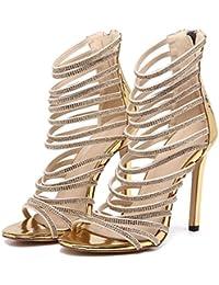 ZWME Zapatos Romanos De Las Mujeres Sandalias De Correa Rhinestone Del Alto Talón Zapatos Romanos De Verano Sandalias De Tiras De Tobillo Peep Toe
