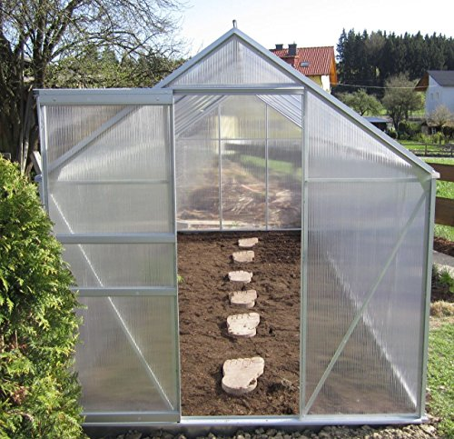2,5 - 6,06m² ALU Aluminium Gewächshaus Glashaus Tomatenhaus, 6mm Hohlkammerstegplatten - (Platten MADE IN AUSTRIA/EU) inkl. Fenster mit autom. Fensteröffner von AS-S, Größe:3.7m²