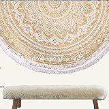 Mandala Life ART Bohemian Mandala Wandteppich - Strand Decke - 180cm - Runden Wandbehang - Yoga Matte - Picknick Sofa Werfen - Baumwolle (Gold Mandala)