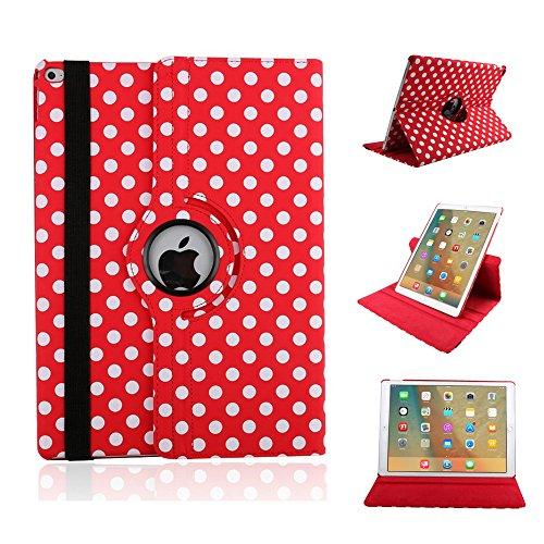 elecfan® iPad Housse de protection 360 degrés Rotation PU Housse en cuir pour iPad Mini 1/2/3 (iPad Mini 1/2/3, rouge)
