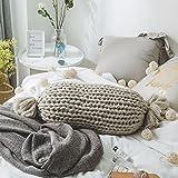 TwinkBling hand-woven Deko-Kissen, Hintergrund Fotografie Requisiten Sofa mit Kissen Runde Kissen Home Dekoration, acryl, Candy Shape_gray, 40cm/15.7in