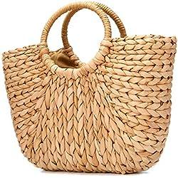 Bolsa de playa de verano, JOSEKO Bolso de paja para mujer Bolsa de hombro de verano para viajes en la playa y uso diario