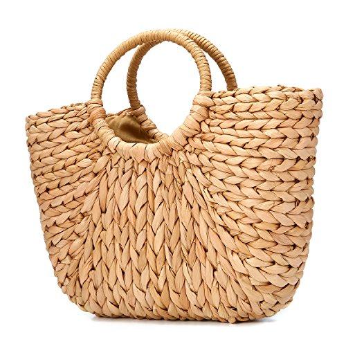Sommer Strand Tasche, JOSEKO Damen Stroh Handtasche Sommer Schulter Tasche zum Strand Reise und Täglicher Gebrauch -