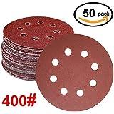 WINGONEER 50PCS Sanding Discs Pads, 5-Inch 8-Hole 400-Grit Gancho y lazo de aluminio de óxido de papel de lija para la orbital orbital Sander