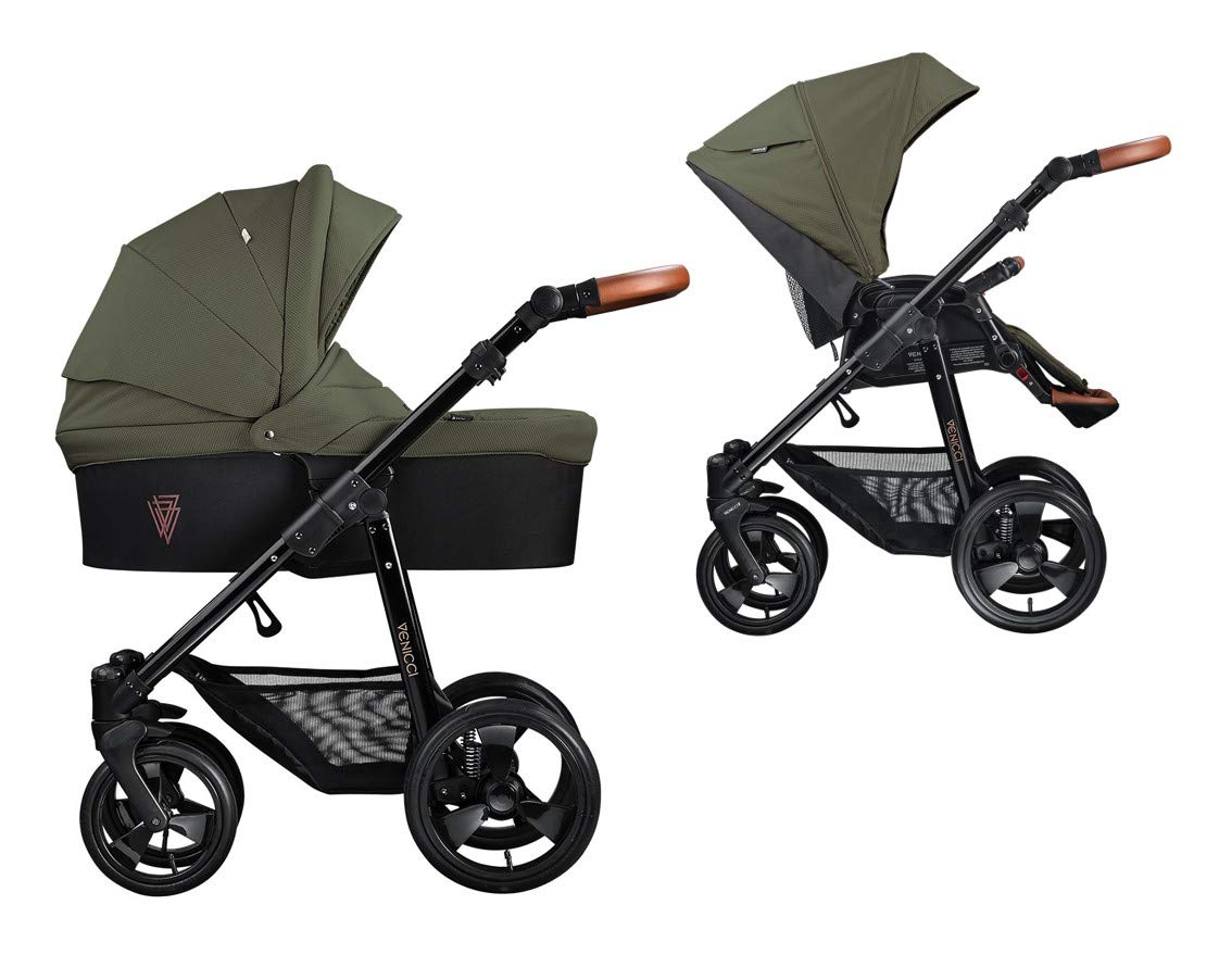 Venicci Gusto 2-in-1 Travel System - Green - with Carrycot + Changing Bag + Footmuff + Raincover + Mosquito Net + 5-Point Harness and UV 50+ Fabric + Cup Holder Venicci 2-in-1 Pram and Pushchair with custom travel options Suitable for your baby from birth until approximately 36 months 5-point harness to enhance the safety of your child 1