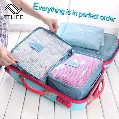 Generic Grün: ttlife Nylon Reise Verpackung Cubes Bag 6Stück One Set großes Fassungsvermögen von Sports Taschen Unisex Kleidung Sortieren Organiz Tasche