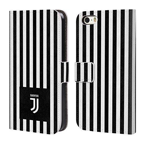Ufficiale Juventus Football Club Banale Lifestyle 2 Cover a portafoglio in pelle per Apple iPhone 6 / 6s Bianco E Nero Strrisce