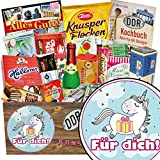 Für Dich (mit Einhorn) | Süßigkeiten Geschenk | Geschenkideen | Für Dich (mit Einhorn) | Geschenkset DDR | lustiges Einhorn Geschenk | mit Trabi Puffreis Schokolade, Zetti und mehr | INKL DDR Kochbuch