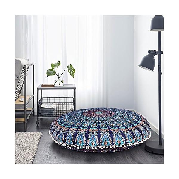 Awesome Indian Creations Blue Mandala Large Floor Pillow Meditation Machost Co Dining Chair Design Ideas Machostcouk