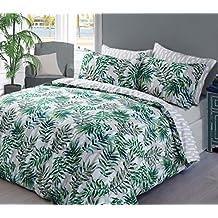 Housse de couette + Taie d'Oreiller Motif feuilles de palmier vertes, 50 % coton, 50 % polyester, Green, Simple