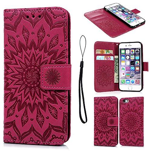 iPhone 6 Hülle Pincenti PU Leder Flip Wallet Cover Stand Case Card Slot Leder Tasche Karteneinschub Magnetverschluß Kratzfestes in Rose Red Sonnenblume für iPhone 6/iPhone 6S