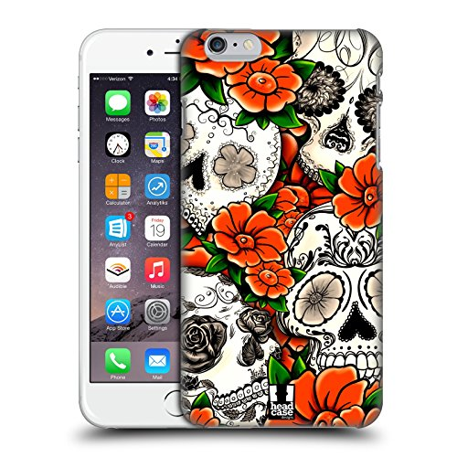 Head Case Designs Violett Blühende Totenköpfe Ruckseite Hülle für Apple iPhone 6 / 6s Orange