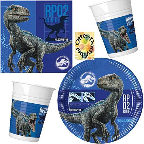 HHO Jurassic World 2 Dinosaurier Partyset 36tlg. für 8 Gäste Teller Becher Servietten