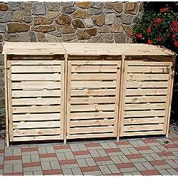 Mülltonnenbox VARIO III Müllbox Dreifachbox für 3 Mülltonnen Kiefer NATUR