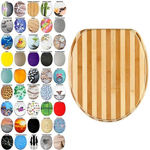 WC Sitz, viele schöne WC Sitze zur Auswahl, hochwertige und stabile Qualität aus Holz (Bambus Gestreift)