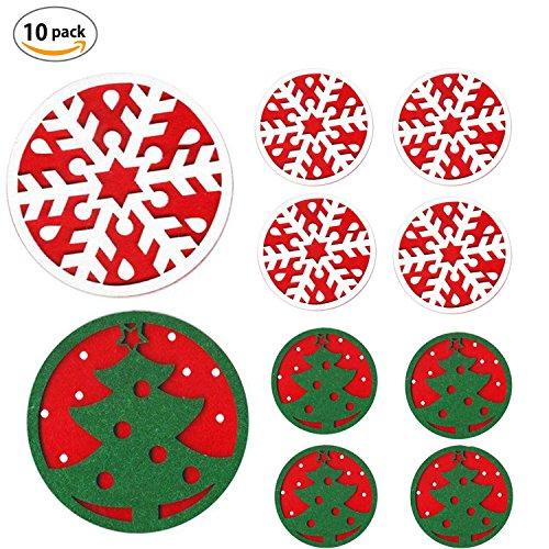 Dancepandas 10 Stück Filz Untersetzer Tischdeko Weihnachten Weihnachtsschmuck,Weihnachtsbaum Schneeflocke