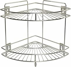 Adbucks Omic Stainless Steel Multipurpose 2-Tier Single Corner Stand for Kitchen and Bathroom (Silver)