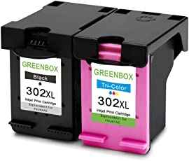 2 Packung GREENBOX Wiederaufbereitet HP 302 XL 302XL Tintenpatronen Ersatz (1x Schwarz, 1x Farbig) für HP Deskjet 3636 3630 1110 2130 2130 3633 HP Envy 4525 4520 4524 HP Officejet 3831 4655 4650 3833