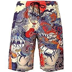 XIAOKEAI Pantalones Cortos De Los Hombres, 2019 El Verano Tendencia 3D DragóN Imprimiendo La Moda AlgodóN TamañO Grande Casual Suelto Pantalones De Playa Pantalones Cortos Deportivos