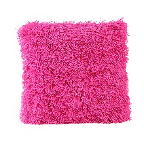 Plüsch Kissen Fall Solid Color Kissen Cover Sofa Kissen Cover Home Decor (43X43CM, Pink)