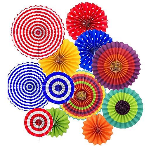 IMMEK Mexikanische Fiesta zum Aufhängen Papier Fans Colorful rund Rad Disc Laterne Dekoration für Party Hochzeit Geburtstag Festival Weihnachten Event und Home Decor 12 Set
