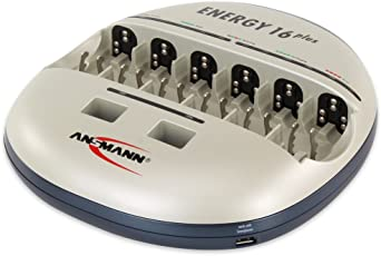 ANSMANN Energy 16 Plus Stazione di Ricarica - Manutenzione per Batterie NiMH/NiCD AAA / AA / C / D - Caricatore