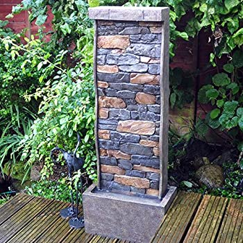 101cm Tall Stone Wall Effect Garden Water Feature with LED light