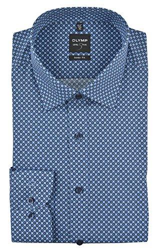 Olymp Herren Hemd Level 5 Print hellblau / braun 4045 64 28 Blau