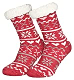 Piarini 1 Paar Kuschelsocken mit ABS Sohle   warme Damen Socken   Wintersocken mit Anti Rutsch Noppen   Love-Erdbeer-Rot (One-Size)