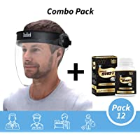 Steelbird Safety Combo SBA-2 7Wings Visor Dashing Face Shield,Full Face Protector For All Front Line Warriors (Pack of 12, with Extra 1 immunity Booster 60 Tablets Pack)