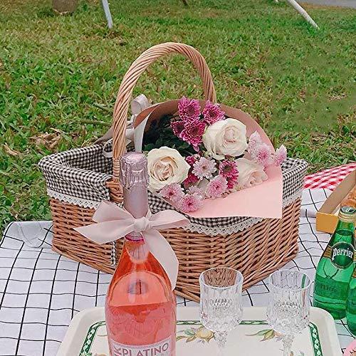 Unbekannt Yong FEI Picknickkorb - American Pastoral Rattan Picknickkorb Obstkorb Große Kapazität Lagerung Outdoor-Aktivität Lebensmittelkorb Einkaufskorb (Rotes Gitter, Schwarzes Gitter) Picknickkorb -