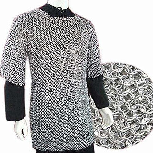 NASIR ALI Chainmail Haubergeon Armour Chainmail Shirt XL 10 mm Aluminum Round Riveted Shirt Armour Large Full Sleeve