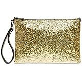 CASPAR TA341 große Damen XL Glitzer Pailletten Clutch Tasche Abendtasche mit Handschlaufe, Farbe:gold;Größe:One Size