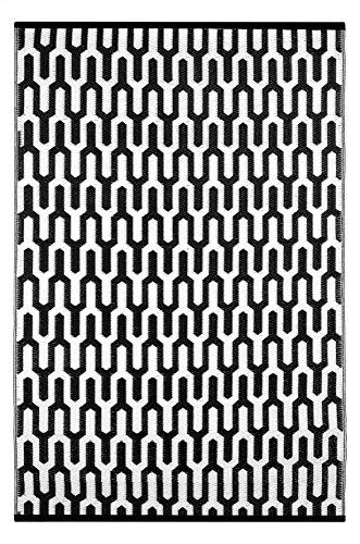 Green Decore Leichtgewichtiger im Freien umwandelbarer Plastikteppich Valencia (120 x 180 cm, Schwarz/Weiß)