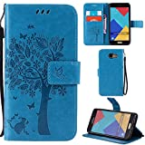 Ooboom® Samsung Galaxy A3 2016 Case Cat Tree Pattern PU Leather Flip Cover Wallet Stand with Card/Cash Slots Packet Wrist Strap Magnetic Clasp for Samsung Galaxy A3 2016 - Blue