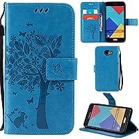Ooboom® Samsung Galaxy A5 2016 Coque Motif Arbre Chat PU Cuir Flip Housse Étui Cover Case Wallet Portefeuille Support avec Porte-cartes pour Samsung Galaxy A5 2016 - Bleu